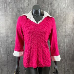 Notations Large Hot Pink Collared Sweater Top